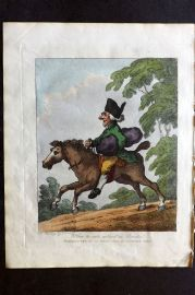 Henry Bunbury 1812 HCol Horse Satire Print. How to ride without a Bridle